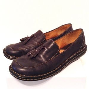 Born Slip On Loafers, Navy Leather Flats - 8